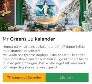 Roulette på Mr Green i form av en Julkalender!